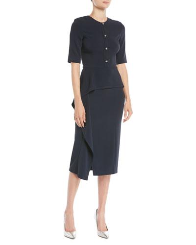 Elbow-Sleeve Cascade-Skirt Crepe Sheath Cocktail Dress
