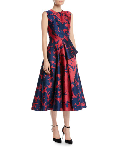 Sleeveless Draped-Front Floral-Jacquard Tea-Length Cocktail Dress