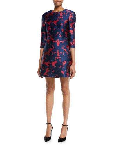 3/4-Sleeve Floral-Jacquard Mini Cocktail Dress