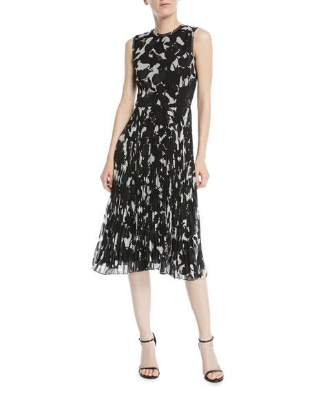 Sleeveless Floral-Print Pleated-Skirt Chiffon Midi Cocktail Dress, White Pattern