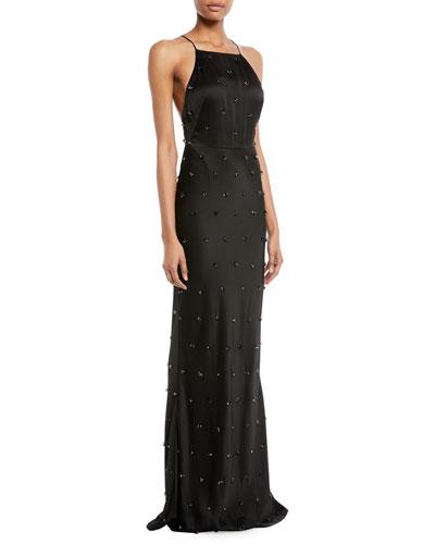 Crepe-Back Satin Embellished Column Evening Gown