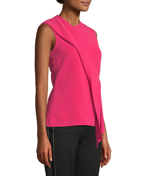 Sleeveless Asymmetric-Drape Crepe Top
