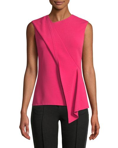 Sleeveless Asymmetric-Drape Crepe Top
