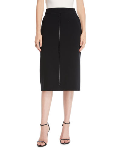 A-Line Compact Crepe Midi Skirt w/ Topstitching
