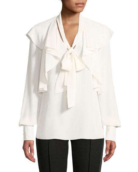 Tie-Neck Ruffle Long-Sleeve Silk Crepe De Chine Blouse, White