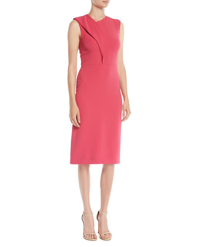 Sleeveless Twist-Front Crepe Sheath Cocktail Dress