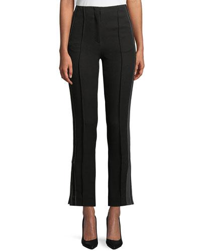 Skinny-Leg Tuxedo-Style Cropped Pants