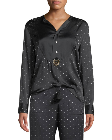 Milagro Long-Sleeve Dot-Print Silk Tux Shirt