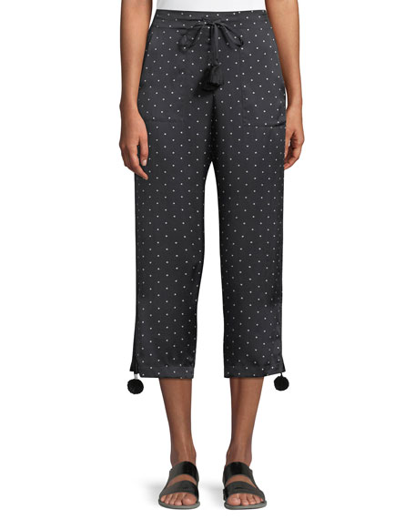 Fiore Dot-Print Pull-On Pajama Silk Satin Ankle Pants W/ Pompom in Black