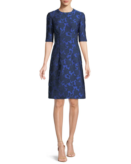 Lela Rose Holly Floral-Jacquard Elbow-Sleeve A-Line Dress