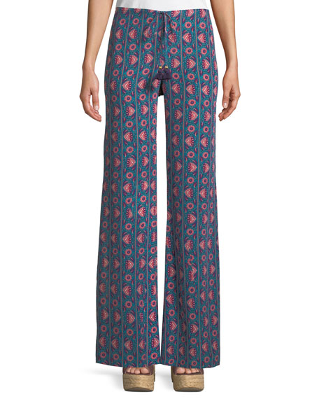 Figue Ipanema Floral-Stripe Split Wide-Leg Silk Pull-On Pants