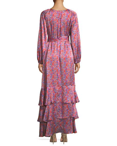 Federica Long-Sleeve Wallpaper Floral-Print Tiered Silk Satin Dress