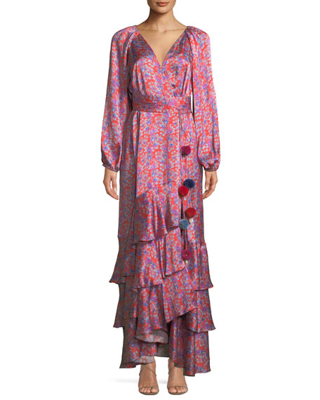 FIGUE Federica Long-Sleeve Wallpaper Floral-Print Tiered Silk Satin Dress in Red