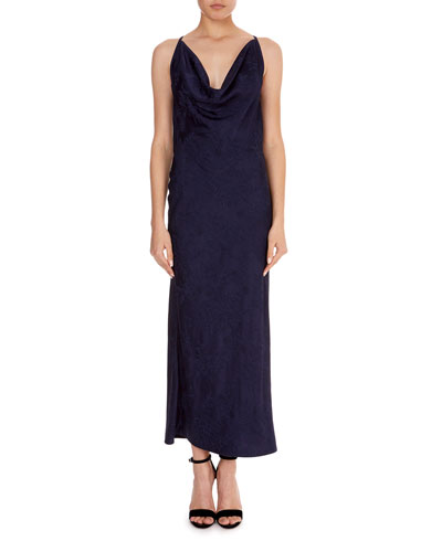 Draped-Front Jacquard Slip Cami Dress