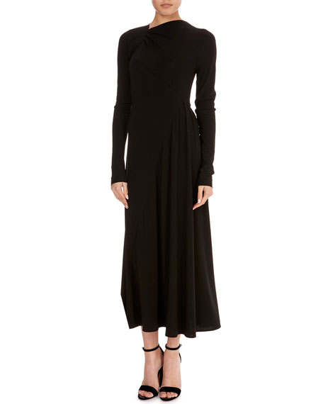 Diagonal-Seam Long-Sleeve Jersey Midi Dress