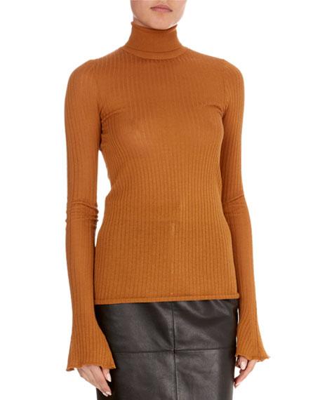 Sheer Rib-Knit Turtleneck Sweater