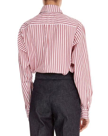 Striped Button-Front Collared Shirt