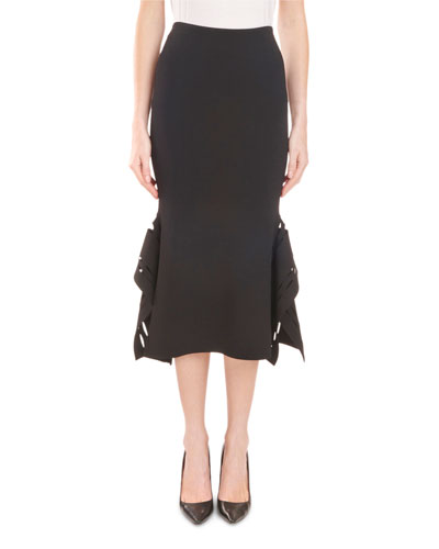 High-Waist Fitted Midi Skirt with Asymmetric Side Details