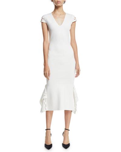 V-Neck Cap-Sleeve Body-Con Stretch-Birdseye Dress