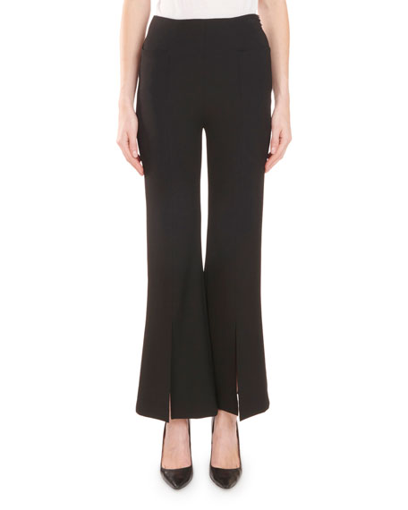 High-Waist Flared-Leg Front-Slit Crepe Pants