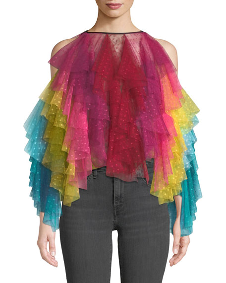Cold-Shoulder Rainbow Layered Tulle Top