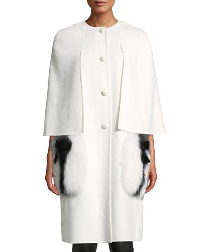 Single-Breasted Wool Cape Coat w/ Fox Fur Pockets