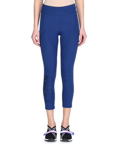 Seamed Cropped Leggings with Logo Side