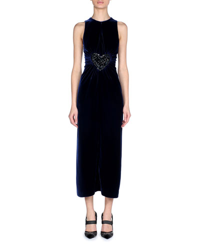Sleeveless Sheath Velvet Cocktail Dress with Heart Embroidered Waist