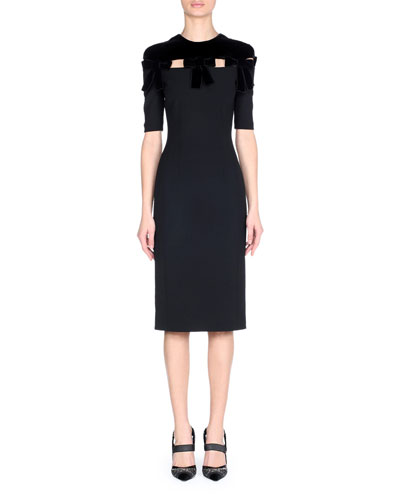 Short-Sleeve Stretch Wool Drill Sheath Cocktail Dress with Velvet Details