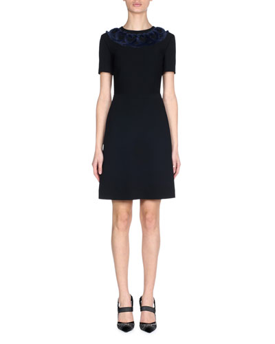 Short-Sleeve Stretch-Cady A-Line Mini Cocktail Dress with Mink Heart Trim