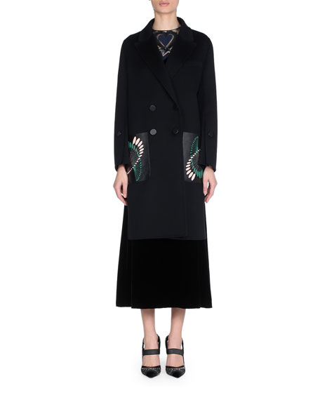 Double-Breasted Wool Coat with Leather Embroidered Pockets
