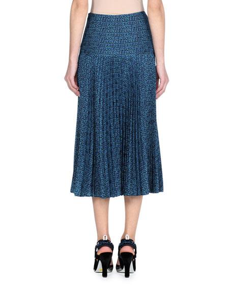 Heart-Print Pleated Silk Crepe de Chine Midi Skirt