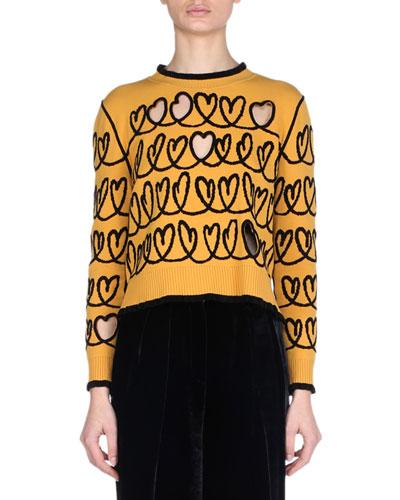 Long-Sleeve Heart-Scribble Cutout Wool-Blend Sweater
