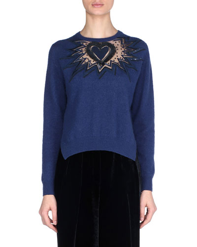 Heart Sequin Embroidery Long-Sleeve Cashmere Sweater