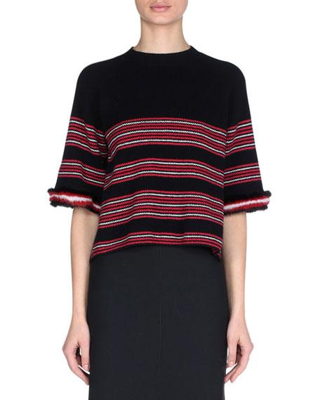 27f1d986658 Fendi Striped Knit Sweater with Mink Fur Cuffs