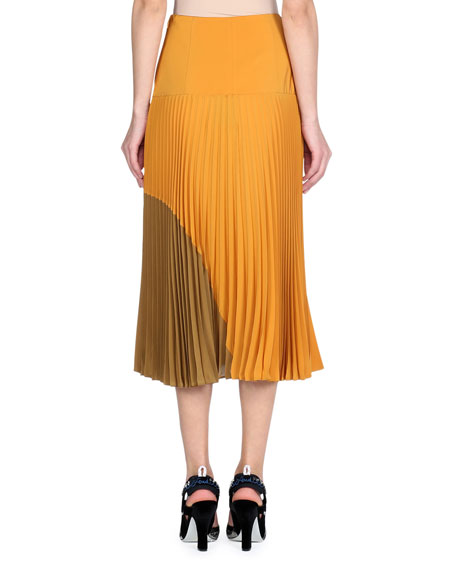 Pleated Silk Crepe de Chine Colorblock Midi Skirt