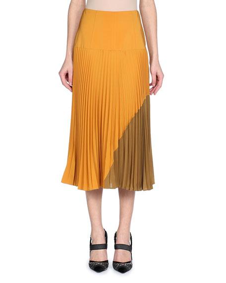 Pleated Silk Crepe De Chine Colorblock Midi Skirt, Gold