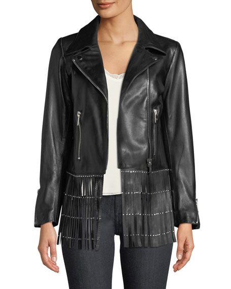 Zip-Front Lamb Leather Jacket w/ Fringe Hem