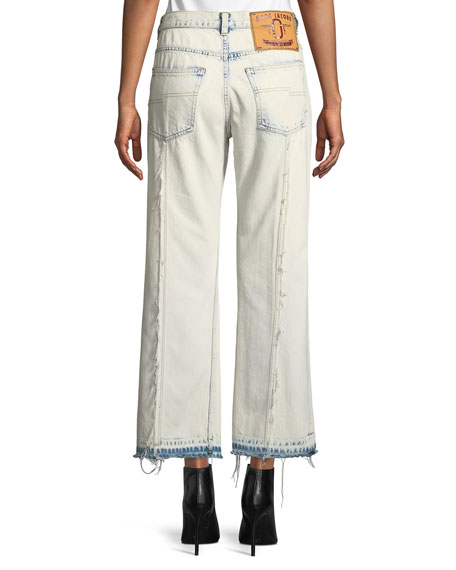 Wide-Leg Washed-Denim Cropped Jeans