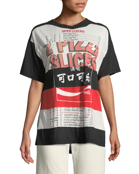 Mixed Cola-Pizza Short-Sleeve Cotton T-Shirt