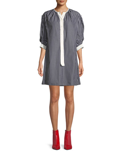 Crewneck 3/4-Sleeves Striped Cotton Shirtdress