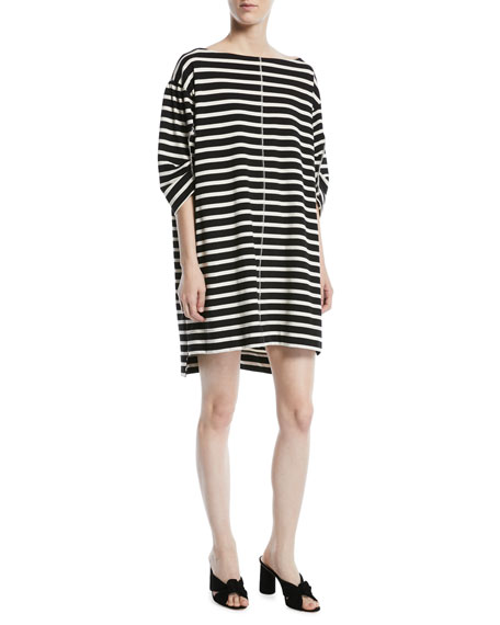 Bateau-Neck 3/4-Sleeves Breton Striped Cotton Dress, Black/White