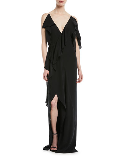 V-Neck Sleeveless Asymmetric Ruffled Silk Evening Gown