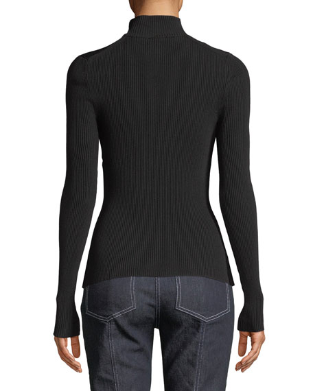 Turtleneck Long-Sleeve Ribbed Top w/ Slit Detail