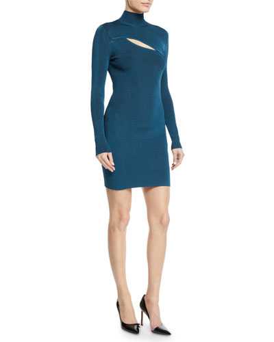Turtleneck Long-Sleeve Ribbed Dress w/ Slit Detail