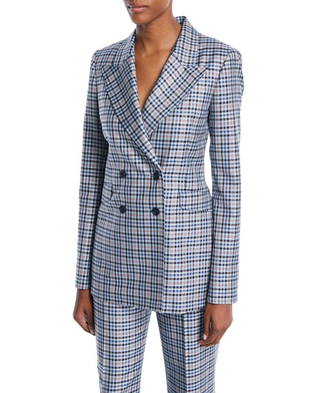 Double-Breasted Novelty-Plaid Silk-Wool Blazer