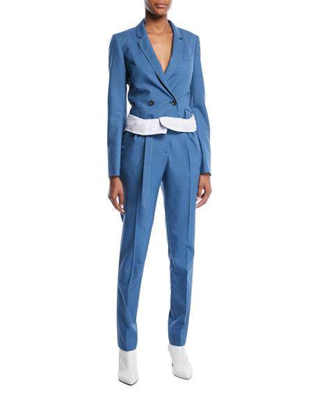 Foldover Paperbag-Waist Straight-Leg Wool Pants