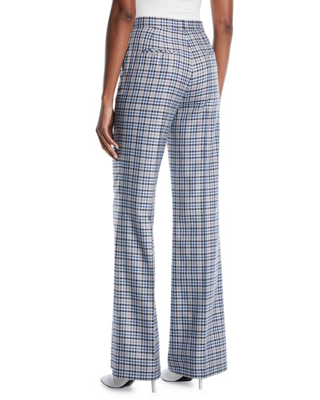 High-Rise Wide-Leg Silk-Wool Pants