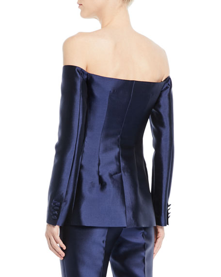 Off-the-Shoulder Button-Front Silk-Wool Blazer