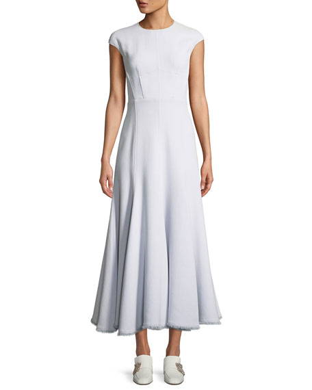 Jewel-Neck Cap-Sleeve Fit-and-Flare Cotton Dress